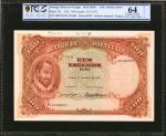 PORTUGAL. Banco de Portugal. 100 Escudos, 1922. P-124. PCGS GSG Choice Uncirculated 64 Details. Hing