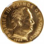 MONACO. Gold 20 Centimes Essai (Pattern), 1962. Paris Mint. NGC MS-62.