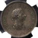 GREAT BRITAIN George III ジョージ3世(1760~1820) 1/2Penny 1806SOHO NGC-PF63BN Proof UNC