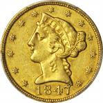1847-C Liberty Head Half Eagle. AU-50 (PCGS).