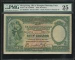 1930年香港上海汇丰银行50元手签,编号B296704,PMG25 (有戳印)