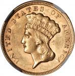 1856 Three-Dollar Gold Piece. MS-61 (NGC).