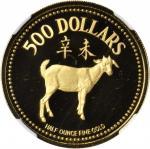 1991年500元,生肖系列,羊年。