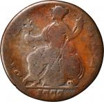 1773 Contemporary Counterfeit English Halfpenny. George III Type of 1770-1775. Double Reverse. Very