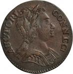 1785 Connecticut Copper. Miller 6.3-G.2, W-2410. Rarity-5+. Mailed Bust Right. AU-53 (PCGS).