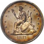 1871 Pattern Quarter. Judd-1096, Pollock-1232. Rarity-7. Silver. Reeded Edge. Proof-66+ (PCGS). CAC.