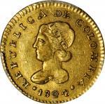 COLOMBIA. 1824-FM Escudo. Popayán mint. Restrepo 162.3. AU-55 (PCGS).