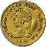 COLOMBIA. 1842-VU 2 Pesos. Popayán mint. Restrepo 202.2. EF-45 (PCGS).