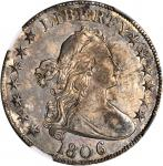 1806 Draped Bust Half Dollar. O-107a, T-3. Rarity-4+. Knobbed 6, Small Stars. AU-55 (NGC).