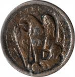 (LARGE EAGLE) on the reverse of an 1841 Braided Hair large cent. Brunk-Unlisted, Rulau-Unlisted. Hos