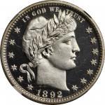 1892 Barber Quarter. Proof-68 Ultra Cameo (NGC).