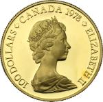 World Coins, Canada.  Elizabeth II (1952 -). 100 dollars 1978. Fr. 9 16.86 g.  27 mm.  优美