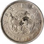 明治八年一圆银币。JAPAN. Yen, Year 8 (1875). Mutsuhito (Meiji). PCGS Genuine--Chopmark, EF Details Gold Shiel