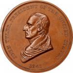 1841 John Tyler Indian Peace Medal. Copper, Bronzed. First Size. First Reverse. Julian IP-21, Prucha