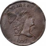 1797 Liberty Cap Half Cent. C-1. Rarity-2. 1 Above 1, Plain Edge. MS-62 BN (PCGS).