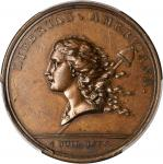 1781 (1782) Libertas Americana Medal. Copper. 47.8 mm. By Augustin Dupre. Betts-615. AU-58 (PCGS).