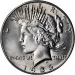 1935-S Peace Silver Dollar. Three Rays. MS-65 (NGC).