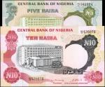 NIGERIA. Central Bank of Nigeria. 5 & 10 Naira, ND (1973-1978). P-16b & 17b. Choice Extremely Fine t