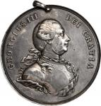 Undated (ca. 1812) George III Indian Peace Medal. Large Size. Solid Silver. 77 mm. 1353.7 grains. Ad