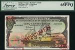 Belgian Congo specimen 500 francs, 1 October 1957, serial number A 000000, brown-violet & multicolou