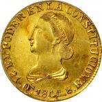 ECUADOR. 1841-MVA 8 Escudos. Quito mint. KM-23.1. AU-58 (PCGS).