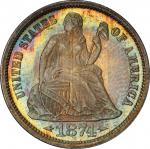 1874 Liberty Seated Dime. Arrows. MS-67 (PCGS). CAC.