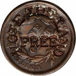 VOTE THE LAND / FREE on the reverse of an 1843 Braided Hair large cent. Brunk V-110, Rulau Y1. Host