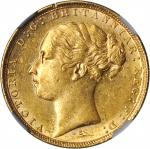 AUSTRALIA. Sovereign, 1880-S. NGC AU-58.