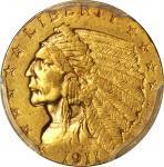 1911-D Indian Quarter Eagle. Strong D. AU-55 (PCGS).