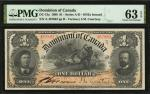1898年加拿大1加元 PMG Choice Unc 63 CANADA Dominion of Canada 1 Dollar