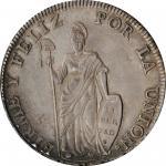 PERU. 8 Reales, 1831-CUZCO G. Cuzco Mint. PCGS AU-53 Gold Shield.