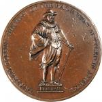 1642 (ca. 1827) Tristram Coffin Medal. Bronze. 54.23 mm. 78.2 grams. Betts-533, Storer-1892. Extreme