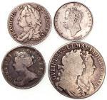 1705, 1743及1827英国1先令银币,及1689年半克朗,1827年1先令AU,其馀F至VF