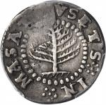 1652 Pine Tree Shilling. Small Planchet. Noe-20, Salmon 6-B, W-860. Rarity-7. Fine Details--Damage (