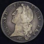 FRANCE Louis XV 儿イ15世(1715~1774) Ecu au bandeau 1766D -F