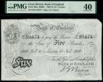 Bank of England, John Nairne (1902-1918), 5, London, 10 January 1916, serial number 85/D 89373, blac