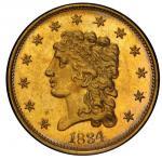1834 Classic Head Quarter Eagle. McCloskey-1. Small Head. Mint State-65 (PCGS).