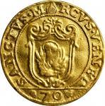 ITALY. Venice. Off-Metal Gold 1/2 Scudo, (ca. 1700-09). Alvise Mocenigo II. FINE DETAILS.