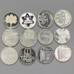 ISRAEL イスラエ儿 Lot of Silver Coins 1970-81 记念银货各种  计12枚组 12pcs 返品不可 要下见 Sold as is No returns UNC&Proo