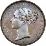 Victoria (1837-1901), proof copper Halfpenny, 1860, young head left, rev. Britannia seated right (Pe