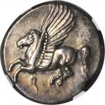 CORINTHIA. Corinth. AR Stater (8.55 gms), ca. 375-300 B.C. NGC AU, Strike: 5/5 Surface: 3/5. Light S
