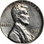 1961 Lincoln Cent--Struck on a Silver Dime Planchet--AU-55 (PCGS).