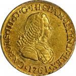 COLOMBIA.1761-J 2 Escudos. Popayán mint. Carlos III (1759-1788). Restrepo 58.4. AU-55 (PCGS).