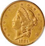 1861 Liberty Head Double Eagle. AU-50 (PCGS).