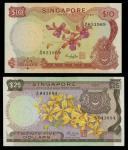 Singapore. Board of Commissioners of Currency. Pair: 10 Dollars. ND (1973). P-3d. Lilac flowers. Unc