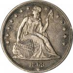 1863 Liberty Seated Silver Dollar. OC-1. Rarity-3-. VF-30 (PCGS).