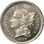 1877 Nickel Three-Cent Piece. Proof-65+ (PCGS). CAC.