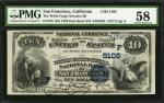 San Francisco, California. $10 1882 Date Back. Fr. 545. The Wells Fargo Nevada NB. Charter #5105. PM