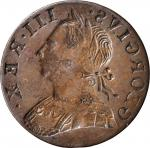 Undated Contemporary Counterfeit English Halfpenny. George III Type--Obverse Brockage--Extremely Fin