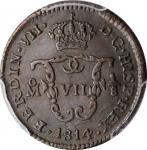 MEXICO. 1/8 Real (Octavo), 1814-Mo. Mexico City Mint. Ferdinand VII. PCGS AU-53 Gold Shield.
